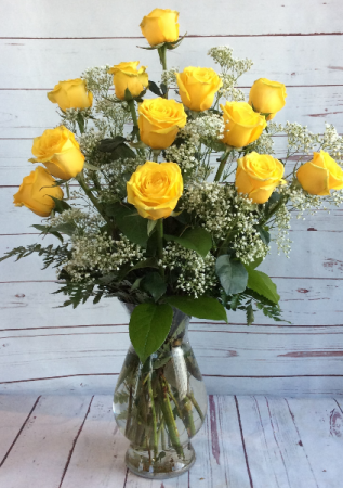 One Dozen Premiun Long Stem Yellow Roses