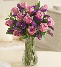 One Dozen Purple Roses with Purple Statice Vase