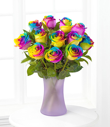 One Dozen Rainbow Roses SOLD OUT