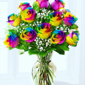One Dozen Rainbow Roses Arranged