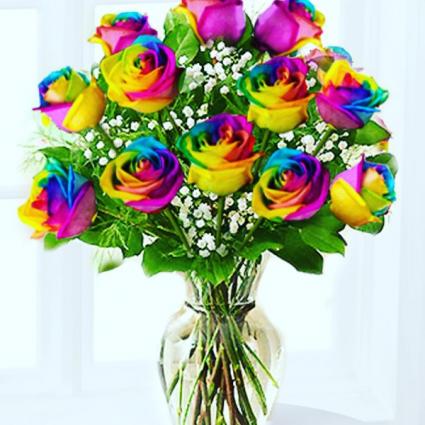One Dozen Rainbow Roses Arranged