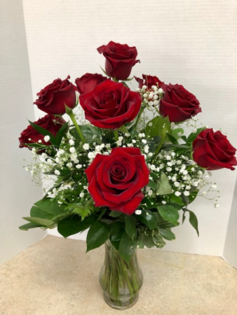 One Dozen Red Roses All Around Vase