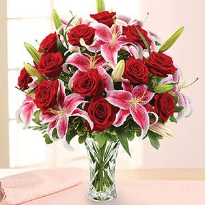 ONE DOZEN RED ROSES AND PINK LILIES VALENTINES