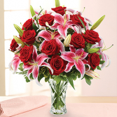 ONE DOZEN RED ROSES AND PINK LILIES Vase