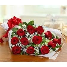 One Dozen Red Roses Cut Bouquet
