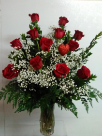ONE DOZEN RED ROSES ROSES