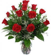 One Dozen Red Roses  Vase Arrangement