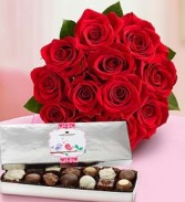 Dozen Red Roses with Chocolates Valentine's Special!