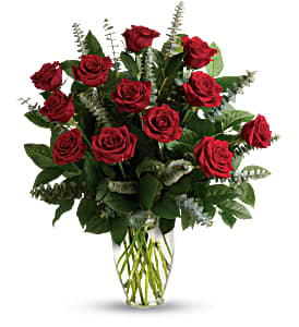 One Dozen Red Roses With Premium Greens  Rose Arrangement