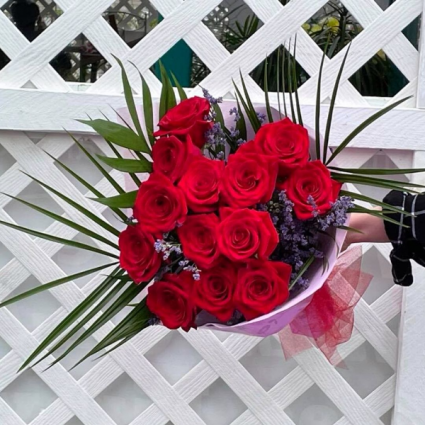 One Dozen Red Roses Wrapped Bouquet