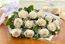 One Dozen Roses - White Presentation Bouquet