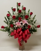 One Dozen Rose in nice vase(White,H.L.Pink,Yello Birth Day