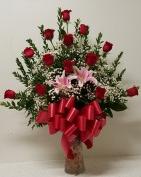 One Dozen Rose in nice vase(White,H.L.Pink,Yello Birth Day