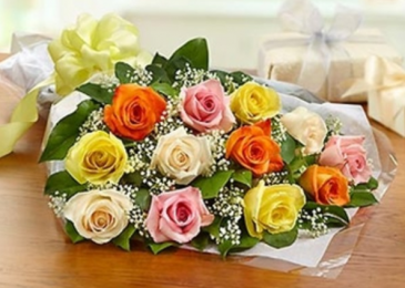 One Dozen Roses - Assorted Presentation Bouquet
