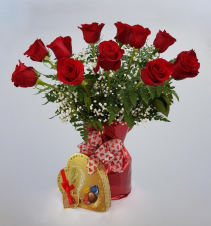 Valentine Special! A Dozen Roses and Box of Chocolates ONLY $85