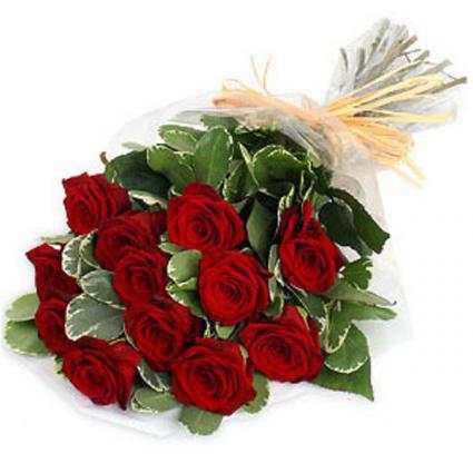 one dozen roses Hand Tied Bouquet