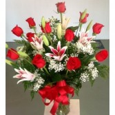 One Dozen Roses with Stargazer Lilies