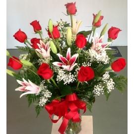 One Dozen Roses with Stargazer Lilies