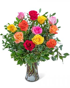 One Dozen Vibrant Roses Flower Arrangement in Nevada, IA | Flower Bed