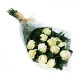 One Dozen WHITE Rose Bokay Wrapped