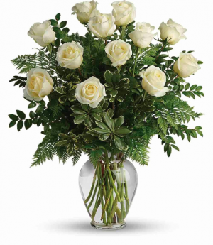 One Dozen White Roses  in Southern Pines, NC | Hollyfield Design Inc.