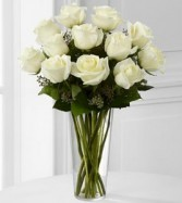 One Dozen White Roses Rose Arrangement