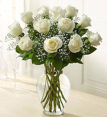 One Dozen White Roses Vased