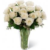 One Dozen White Roses Vased Arrangement