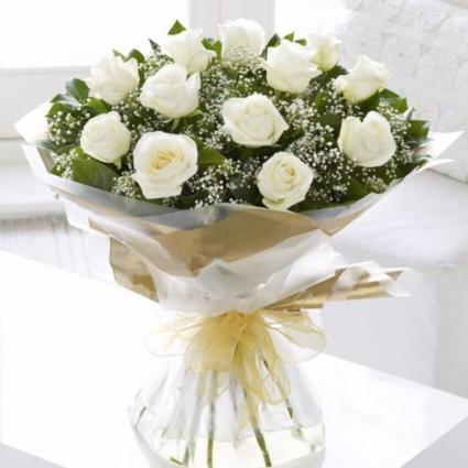 One Dozen Wrapped White Roses