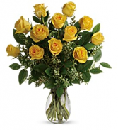 One Dozen Yellow Roses Rose Arrangement
