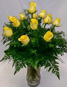 One Dozen Yellow Roses Rose Arrangement