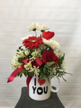 One of a kind Love Fresh arrangement