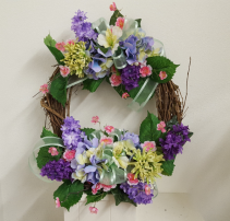 One of a Kind Purple and green wreath Silk wreath