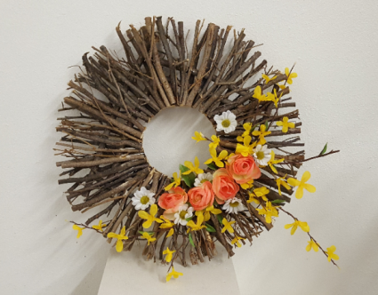 One of a Kind twig forsythia, daisy and rose  Silk wreath
