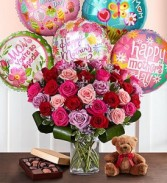 Only the best for mom Roses, Balloons, Teddy Bear and chocolates