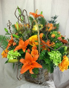 Oooohhh so ORANGE! Basket Arrangement