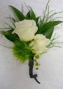 Opal white spray rose boutonniere