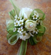 Opal white  spray rose wrist corsage