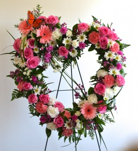 Open and Loving Heart standing Spray of Funeral Flowers