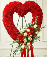 Open heart red and white Funeral