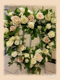 Medium Open heart rose arrangement funeral standing spray