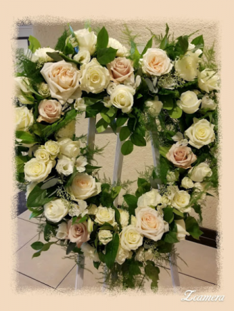 Open heart rose arrangement funeral standing spray