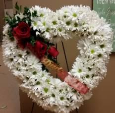 Open Heart Standing Spray of Funeral Flowers