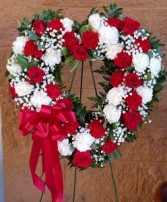 Open heart standing spray Wreath