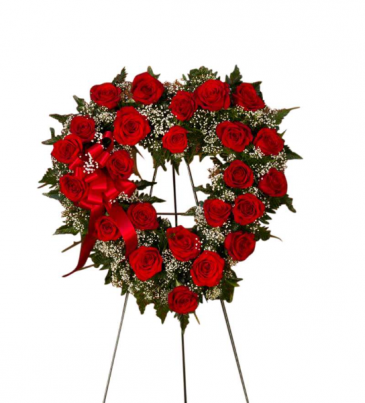 Open Heart With Roses Standing Wreath