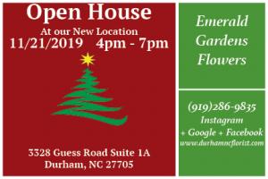 Open House Annoucement  in Durham, NC   Emerald Gardens Flowers