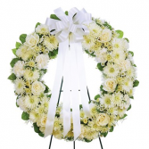 OPEN ROUND WREATH STANDING SPRAY- YOUR COLOR CHOICE