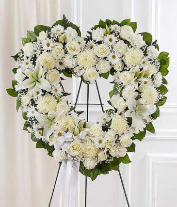 Open White Heart Funeral Spray