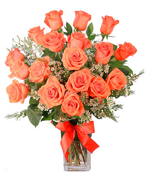 Orange Admiration Rose Arrangement in Michigan City, IN | WRIGHT'S FLOWERS AND GIFTS INC.