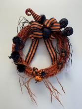Orange and Black Skull Wreath Halloween Wreath